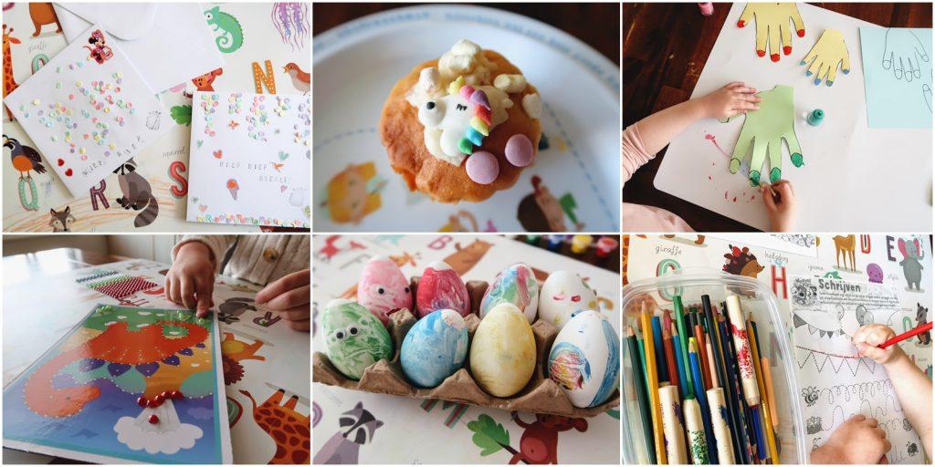 knutselen knutsels pasen lente seizoen bloemen eieren dieren vogel konijn papier karton hout wol